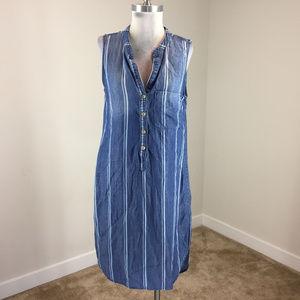 Anthropologie Cloth Stone M Striped chambray dress